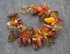 Beaded Bracelet  The Leaf Series  Fall Autumn II by randomcreative, $35.00