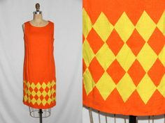 Large Vintage Dress 1960s Orange and Yellow w by SIZEisJUSTaNUMBER, $44.00
