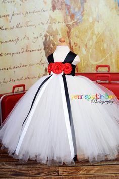 Ivory White Black and red satin rosette tutu by YourSparkleBox. $94.95, via Etsy.