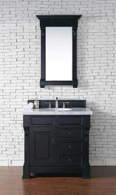 "Brookfield 36"" Antique Black Single Vanity w/ Drawers with 4 CM Carrara White Marble Top"