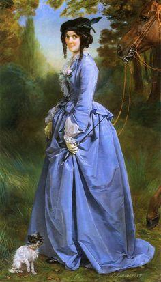 Portrait of a Woman in Riding Costume : Leon Louis Antoine Riesener : Museum Art Images : Museuma