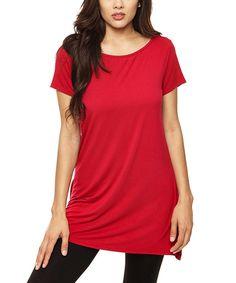 Look at this #zulilyfind! 42POPS Red Side-Slit Scoop Neck Tunic by 42POPS #zulilyfinds