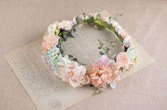 ピンク×ブルーパステルフラワー ナチュラルクリップコサージュ花冠(5パーツ) | Online store – ミルラシュエット