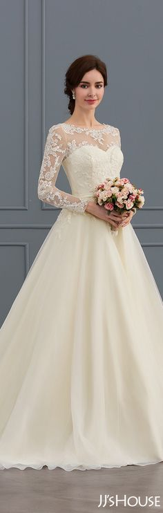 Ball-Gown-Scoop-Neck-Court-Train-Tulle-Lace-Wedding-Dress-With-Beading-Sequins #JJsHouse #Wedding