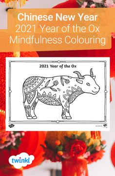 Celebrate the Year of the Ox and Chinese New Year with this mindfulness colouring sheet - great for letting your children express their creativity. Colouring is perfect for a calm morning activity, during a wet playtime or to bring mindfulness into your teaching! Click to download and find more colouring sheets over on the Twinkl website. #chinesenewyear #cny #mindfulness #mindfulnesscolouring #teachingresources #teachingideas #twinkl #twinklresources #homeeducation #lunarnewyear #education Morning Activities, Color Activities, Coloring Sheets, Coloring Pages, Mindfulness Colouring Sheets, Chinese Spring Rolls, Eyfs, Chinese New Year, Fine Motor Skills