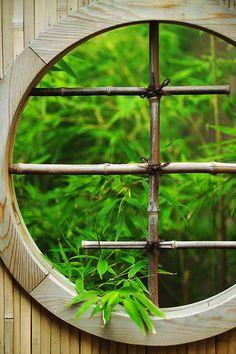 Asian inspired garden window