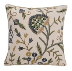CREWELWORK CUSHION - AQUA/GOLD