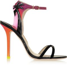 Sophia Webster Malibu Sunset vinyl-trimmed patent-leather, suede and satin sandals - $222.75