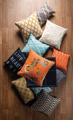 Mix and match your favorite colors and textures. See all our accent pillows. #LivingSpaces