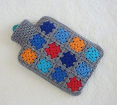 Crochet hot water bottle cover hottie granny square by FromJeanne