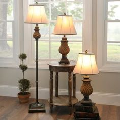 Toffee Wood Floor and Table Lamps, Set of 3