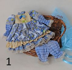 Doll clothing set/ Doll dress/ Blue doll dress. A set by EvaiDolls