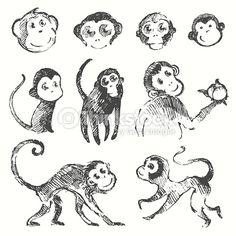 Set of funny cute monkeys monkey year Chinese zodiac symbol vector illustration hand drawn sketch