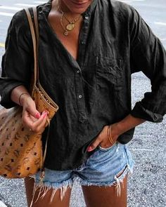 Latest fashion trends in women's Blouses. Shop online for fashionable ladies' Blouses at Floryday - your favourite high street store. Cheap Blouses, Cheap Shirts, Blouses For Women, Collar Shirts, Shirt Blouses, Trendy Tops, Types Of Sleeves, Long Sleeve Shirts, Clothes