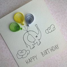 Funny Greeting card with a sheep - Happy Birthday Card - Handmade Birthday Card - Quilling Card
