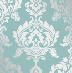 Damask - Foil - Teal / Silver - Metallic - Traditional - Wallpaper #Interiors