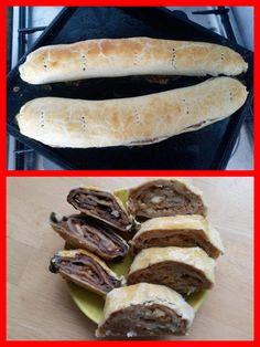 Štrudličky-jablkovo-orechová a jablkovo-lekvárová Hot Dog Buns, Hot Dogs, Sausage, Bread, Food, Sausages, Brot, Essen, Baking