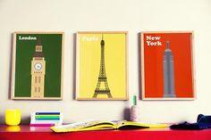 Kit imprimível: Posters vintage de Cidades