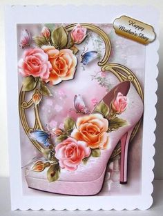 Stunning Shoes The London Collection Rosy Glow Roses on Craftsuprint designed by Anne Lever - made by Margaret McCartney - I printed the design onto good quality photographic paper and cut it out. I scored and folded a C5 scalloped edged card. I attached the design to the card using double sided tape. I assembled the decoupage and added the greeting using thin foam tape.  - Now available for download!
