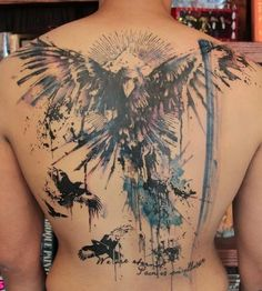 quotes&phoenix watercolor tattoo on full back - birds, pyramid, horrible