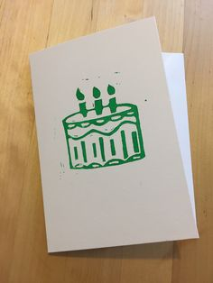 Birthday Cake Lino Print Card by LizzieBoxCreates on Etsy https://www.etsy.com/uk/listing/529666581/birthday-cake-lino-print-card