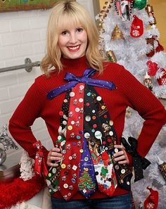 13 DIY Ugly Christmas Sweater Ideas That Are So Bad They're Good: Ugly Tie Christmas Tree Sweater from I Love to Create Homemade Ugly Christmas Sweater, Diy Ugly Christmas Sweater, Ugly Sweater Party, Xmas Sweaters, Ugly Sweaters Diy, Christmas Jumpers, Tacky Christmas Party, Noel Christmas, Christmas Outfits