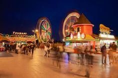 Picture of amusement park at night, Santa Cruz, California