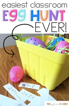 I love doing a classroom egg hunt around Easter, but they can take sooo much work! This is seriously the BEST idea I've seen for an easy, but completely educational Egg hunt in your classroom. Works for grades K-5!