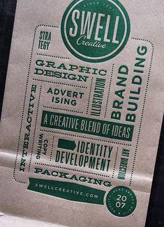 Letterpress Coffee Bag: Swell Creative back by smokeproof