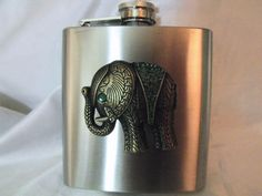 Flask, Stainless Steel Elephant With Green Rhinestoned 6 Ounce Flask for Women Handmade Unique Gifts, Great Gifts, Home Decor Items, Happy Shopping, Are You Happy, Initials, Elephant, Bronze, Stainless Steel