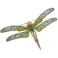Platinum, 18K Yellow Gold, Diamond, Ruby & Emerald Dragonfly