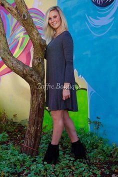 a.gain Grey Long Sleeve Midi Dress