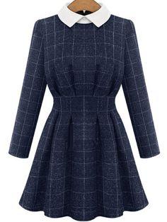 Blue Contrast Collar Long Sleeve Plaid Dress -SheIn(abaday)
