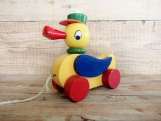 Vintage Wooden Pull Toy Duck Pull Toy Old Toy by GuestFromThePast