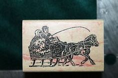 Illustrator? Rubber Stamp Sleigh Ride 1995 Kidstamps Wood Mount 1 1 2 x 2 1 4 A2 | eBay