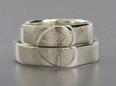 Matching heart wedding ring bands