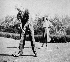 Jimmy Stewart playing golf, 1950s