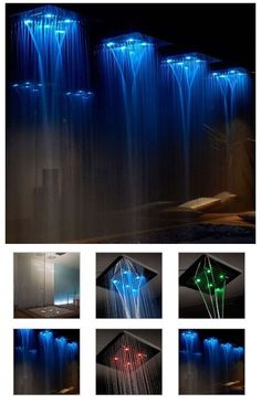 Gessi's Luxurious Shower. This square, ceiling-mounted shower head recreates a small but powerful waterfall that sprays like rainfall, water blades and atomisation, packs a hydro-massage system and includes changing chromatherapy lights to take the stress away.