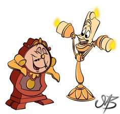 Lumiere and Cogsworth on Deviantart