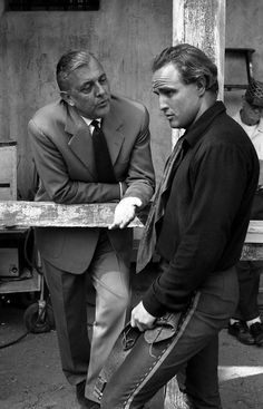 Jacques Tati visits Marlon Brando on the set of One-Eyed Jacks, 1961.