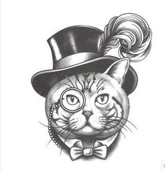 Gentleman of cat tattoo paste simulation tattoos waterproof character tattoo men and women
