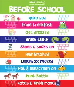 Before School Checklist | Routines for the morning to help kids get ready