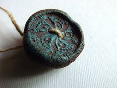 Artisan Large Button Ceramic burnished carved by greybirdstudio, $13.50