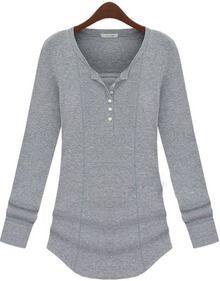 Grey V Neck Long Sleeve Loose T-Shirt