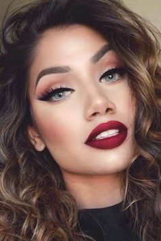 Ombre Lips with Red Lipstick photo 4 - Rouge Red Lipstick Looks, Lipstick For Fair Skin, Natural Lipstick, Natural Makeup For Brown Eyes, Makeup Looks For Brown Eyes, Red Lip Makeup, Eye Makeup, Hair Makeup, Makeup Looks