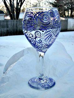 Wine Glass Hand Painted, Purple Abstract 18 oz  Wine Glass