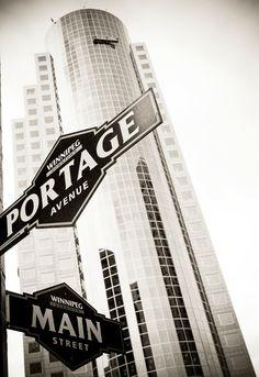 Winnipeg, Manitoba: Portage & Main St.  Windiest corner of the universe.