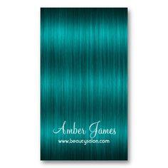 Long Wavy Blue Green 2 Hair Colorist Business Card