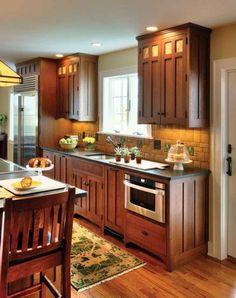 Craftsman Kitchen - Crown Point Cabinetry - Backsplash designed by Motawi Designer Hadley Lord - Arts & Crafts Homes and the Revival