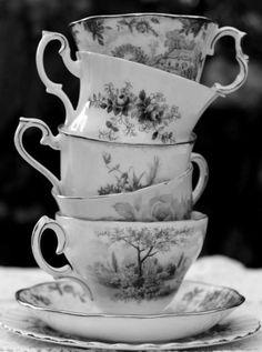 Black & White Transferware Tea Cups